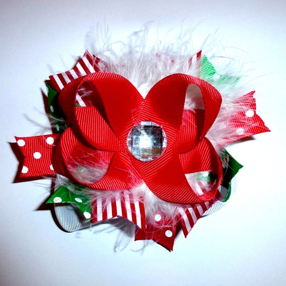 Puppy Bows ~ Dog collar slide bow Christmas rhinestone marabou feather boa red/green accessory  (DC13)