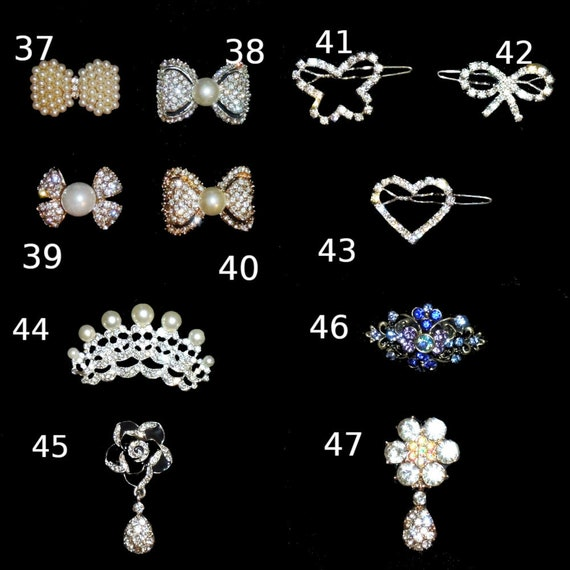 Puppy Bows ~ Rhinestone TIARA multi styles dog hair barrette clip CRYSTAL styles 37-47 ~USA seller