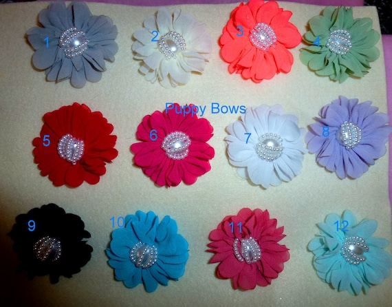Puppy Bows ~ Shabby chic chiffon carnation flowers 12 colors PEARL centers grooming bow pet hair barrette  (fb102)