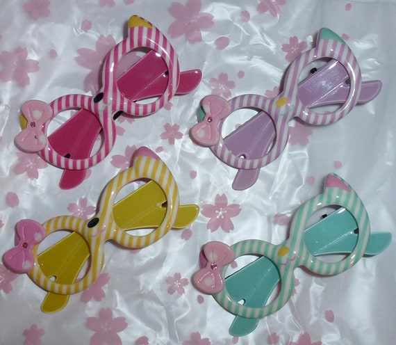Puppy Dog Bows ~ pink purple blue yellow striped sunglasses with tiny bow pet hair Yorkie bow barrette