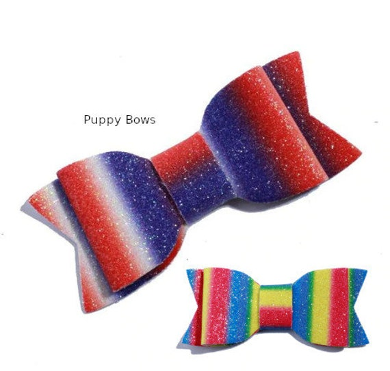 "Puppy Bows ~Set of 2 dog hair large dog 3"" rainbow bowknot bow bands or barrette  ~USA seller"