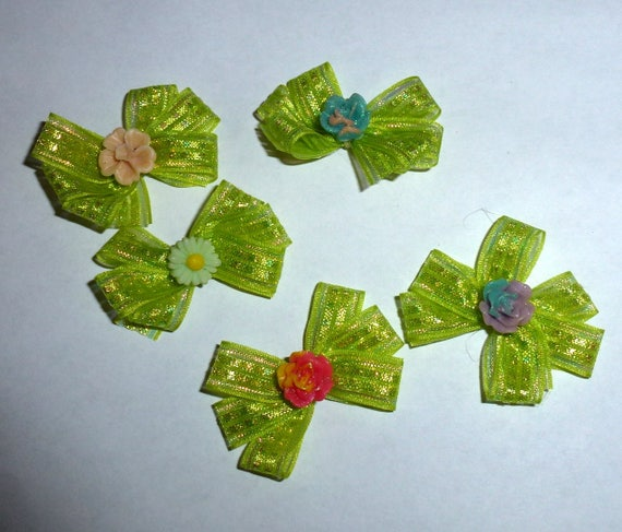 Puppy Bows ~5 green shiny triple loop EVERYDAY BOWS Yorkie Maltese Shih Tzu ~Usa seller (fb81)