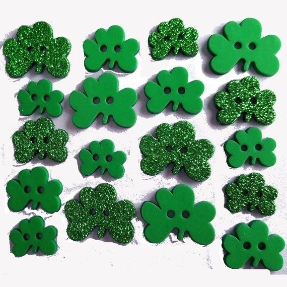 Puppy Bows ~ craft supplies Dress it up green glitter shamrock buttons clovers shamrocks