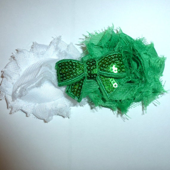 Puppy Bows ~ Dog collar slide bow large dog hair bows  green white sequin flower  and rhinestones ~USA seller (dc8)