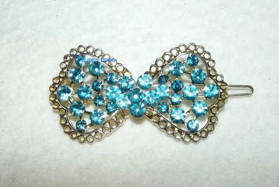 Puppy Bows ~ Rhinestone gold lace blue dog flower bowtie hair  barrette ~ US Seller
