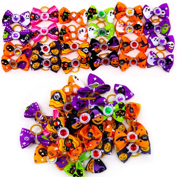 Halloween everyday tiny dog groomers grooming pet hair bows latex bands pairs (fb360)