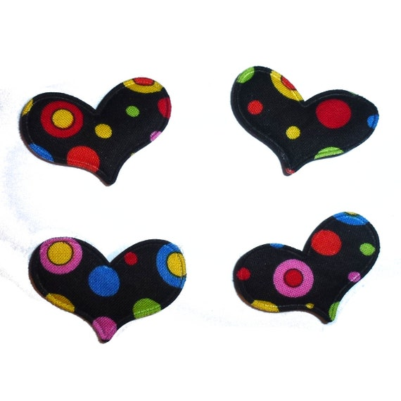Puppy Bows ~ Black multicolor dots puffed heart dog hair bow SET OF 4! with barrette ~USA seller (fb146)