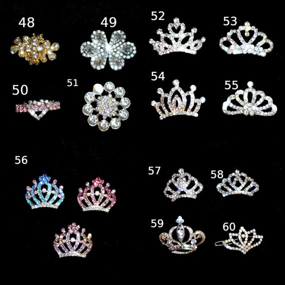 Puppy Bows ~ Rhinestone  dog TIARA multi styles dog hair barrette clip crystal styles 48-60 ~USA seller