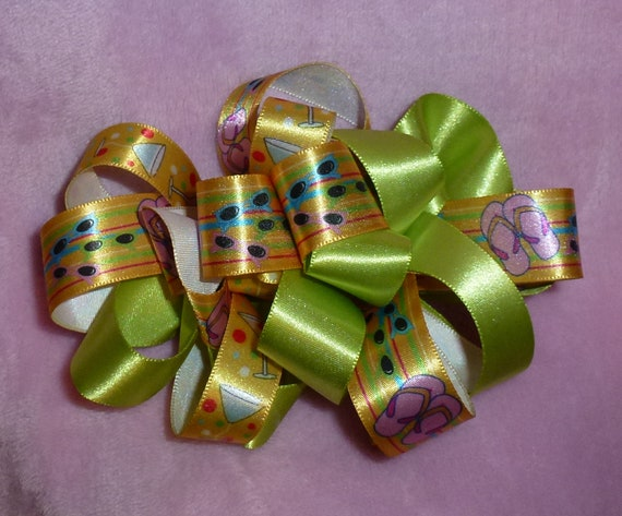 Becky Bows~  Barrette Hand crafted huge ribbon BIG hair bow Women or Girls giant fall christmas plaid summer green yellow