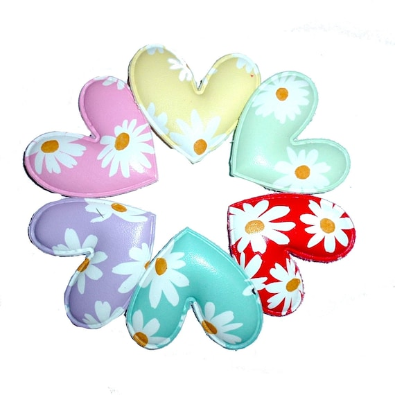 Daisy heart pet hair bow with plastic ball clip barrette or latex bands  (fb267)