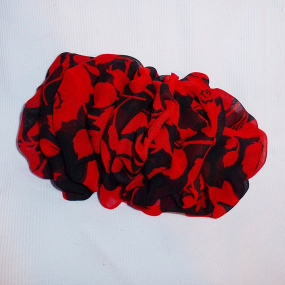 Becky Bows ~  Oversized hair bows for women Beautiful adult bow for ladies red black floral