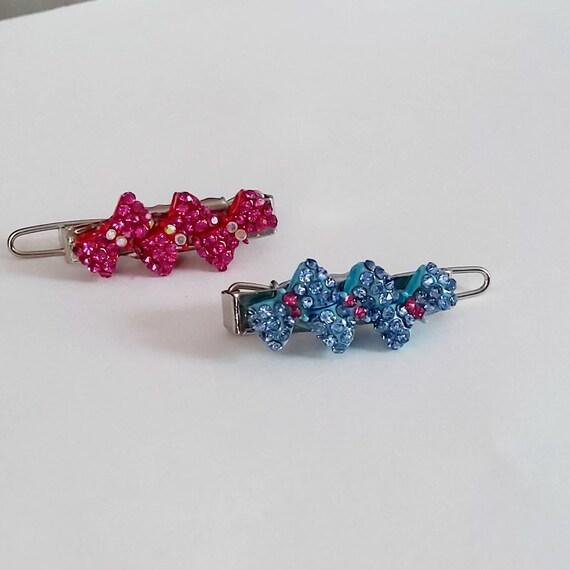 Pink or blue triple rhinestone bow dog hair barrette pet hair clip