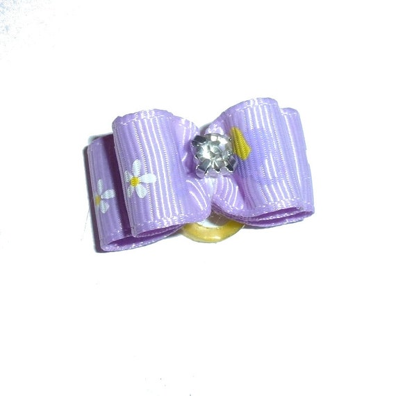 """Puppy bows ~ 5/8"""" purple daisy pet hair show bow barrettes or bands (FB290a)"""