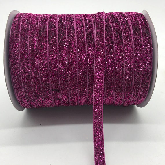 Puppy Bows ~  craft supplies purple velvet glitter ribbon NON stretch 3/8""