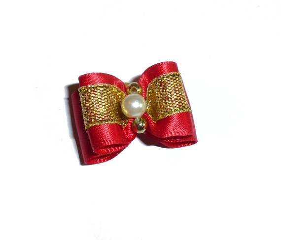 Puppy Dog Bows ~ Red/gold pearl center pet hair bow barrettes  (fb79)