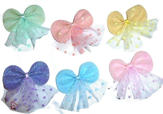 Puppy Bows ~ Princess glitter pairs Poodle ear bow pet hair bowknots - (fb252)
