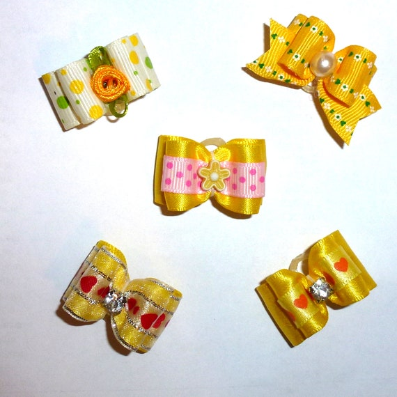 Puppy Bows ~Yellow bows for dogs 5 show bows dog bow  pet hair clip barrette or latex bands (sb1)