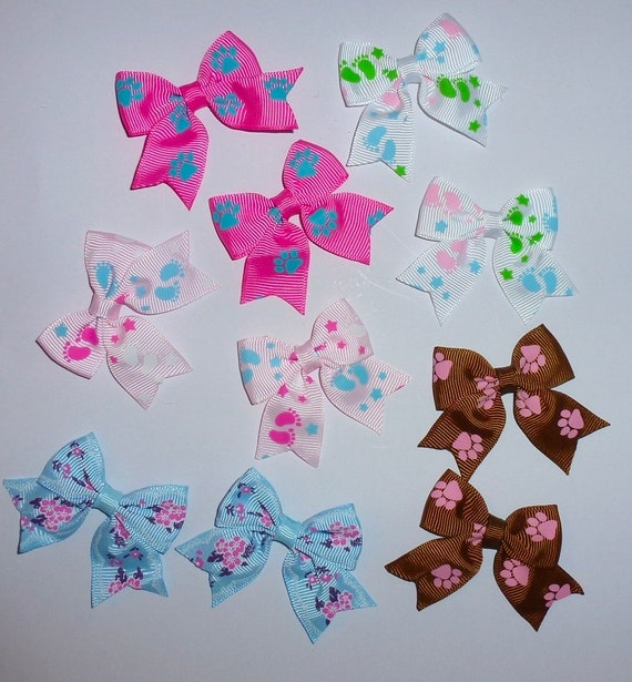 Puppy Bows ~ 10 dog bow for girls - pairs dog grooming pet hair bows - (218f)