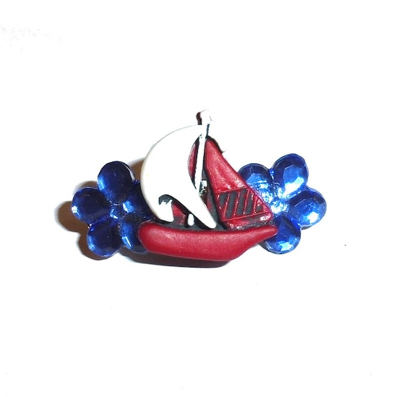 Dog Bows red white blue sailboat jewel flowers pet hair barrette clip (TB26)