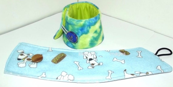 "CLEARANCE SALE 50% OFFPuppy Bows~2 over the collar dog pet bandana 8""-9"" neck  blue green tie dye~US Seller"