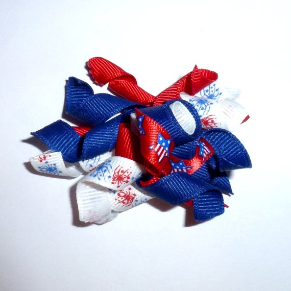 Puppy Bows ~ Patriotic 4th of July red white blue dog bow korker hair barrette or bands