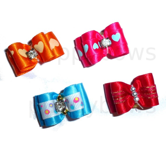 "Puppy Dog Bows ~ 5/8"" satin bowknot SET OF 4! girls pet hair show bow barrettes or bands (FB181)"
