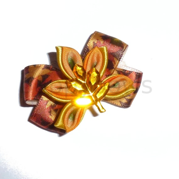 Puppy Dog Bows ~Fall Thanksgiving boutique kanzashi maple leaf pet hair bow barrettes or bands