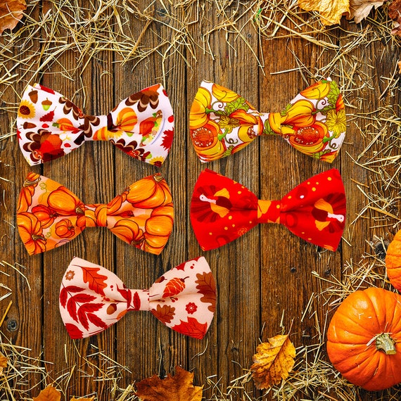 Puppy Bows ~ Thanksgiving turkey leaves bow tie dog collar slide bowtie accessory  OR large dog hair bowknot (dc16)