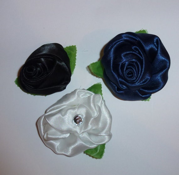 Puppy Dog Bows ~ SET OF THREE navy, black, white rose pet hair bow barrettes or bands (fb103)