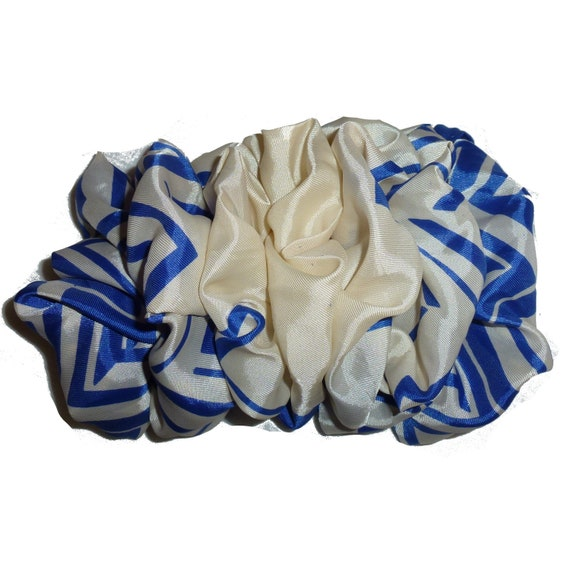 Becky Bows ~  Fluffy over sized hair bows for women large ladies vintage scarf bow royal blue cream