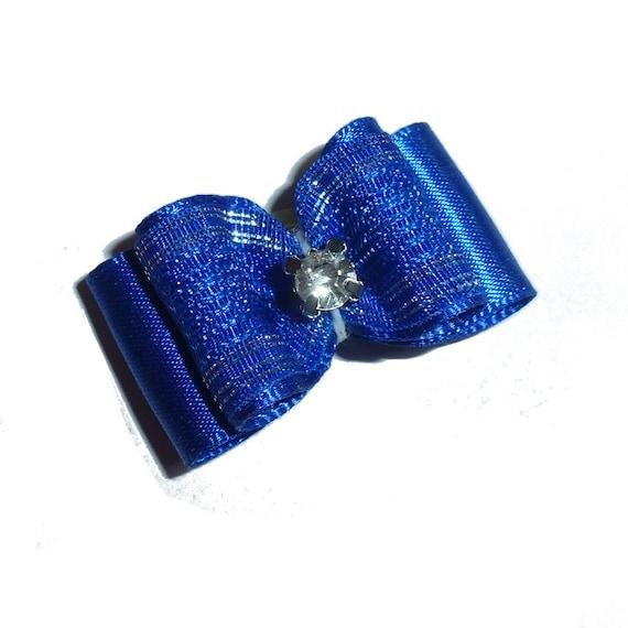 Blue silver rhinestone center pet hair bow barrettes  (fb165)