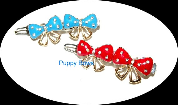 Puppy Bows ~WEE SUPER TINY little flower pearls bowknot hearts dog bow  pet hair clip barrette
