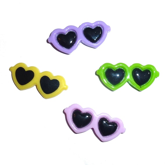 """Puppy Bows ~ Tiny 1"""" heart style Dog bow sunglasses  pet hair barrette clip"""