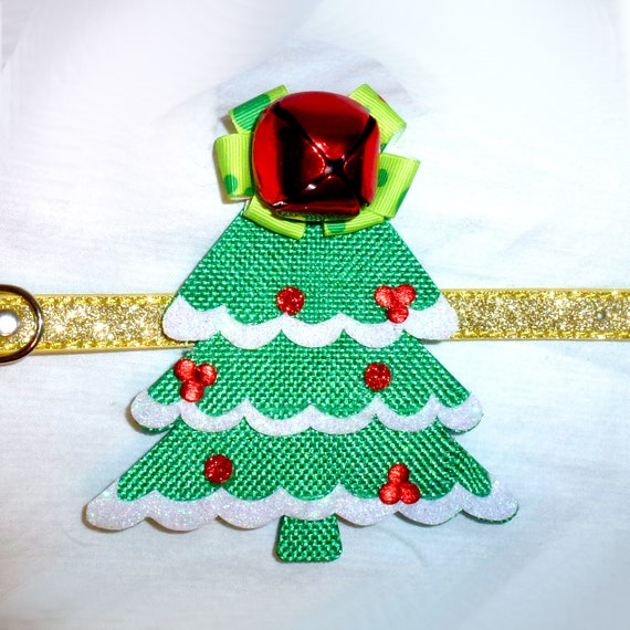 Puppy Bows ~ Tree jingle bell dog bow Christmas collar slide flower red green  ~USA seller (fb162)