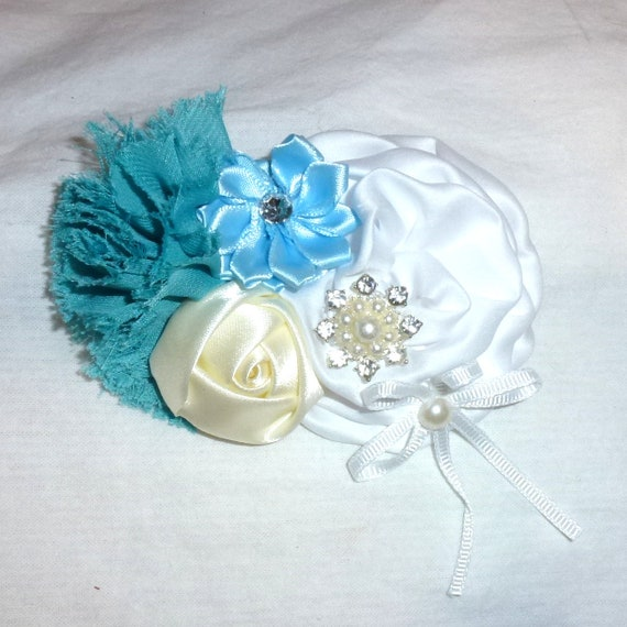Puppy Bows ~ Large winter  dog bow Christmas collar slide frozen snowflake blue teal white   ~USA seller (fb162)