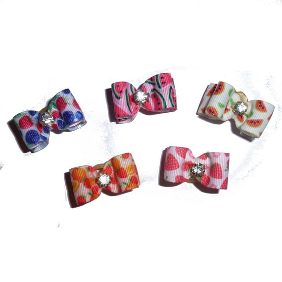"Puppy Bows ~  Tooty Fruity dog show bows  5/8"" double loop  barrette or latex bands 5 colors!  ~USA seller"