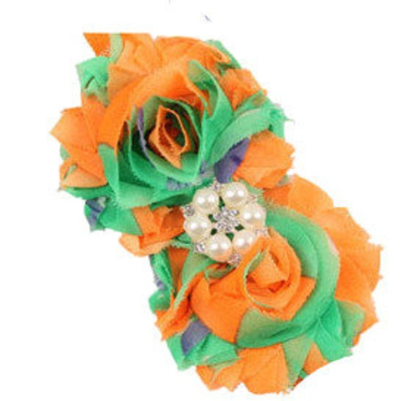 Puppy Bows ~ Dog collar slide bow large dog hair bows orange green yellow tie dye lace and pearls ~USA seller (fb162)