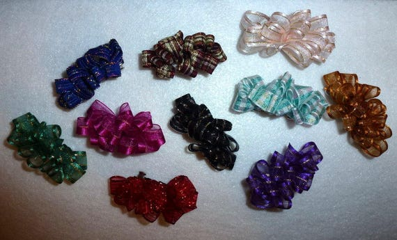 Puppy Bows ~LOTS OF COLORS rosette organza multi loop french barrette pet hair clip (fb98)