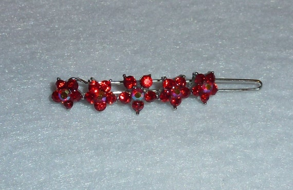 "Puppy Bows ~  Red crystal flowers 1.5"" rhinestones dog bow  pet hair clip topknot barrette (rh1)"