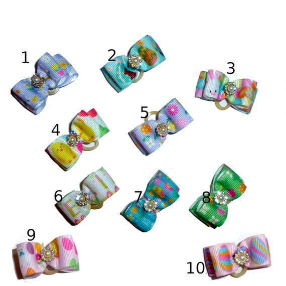 """Puppy Bows ~  Easter dog show bows  5/8"""" double loop rhinestone barrette or latex bands (Fb205)"""