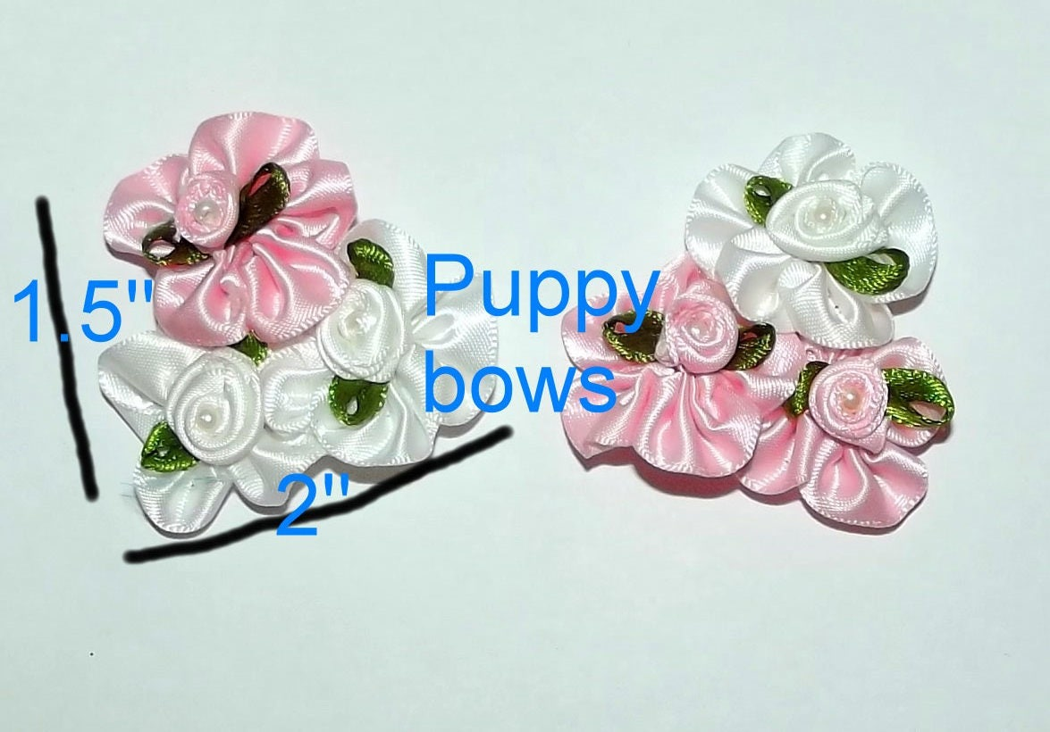 Puppy Bows Pinwheel Roses Tower Pinkwhite Dog Grooming Bow Pet