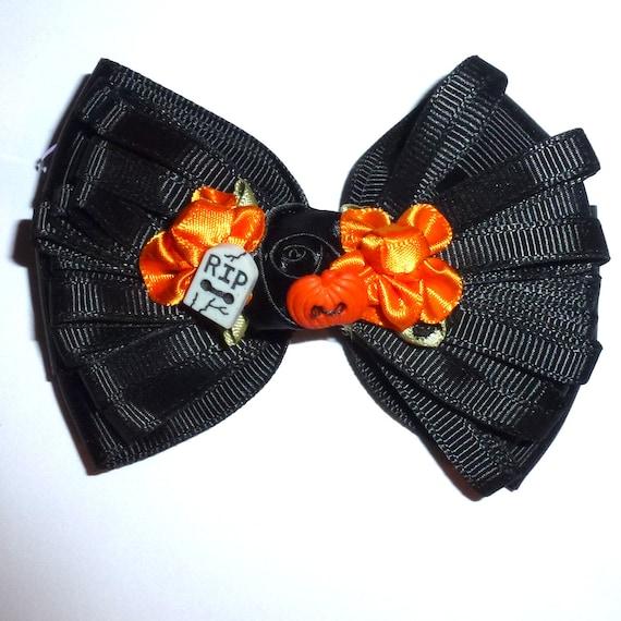 Puppy Bows ~ Dog collar slide bow black halloween multi flower loopy  ~USA seller (fb162)