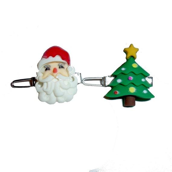 Puppy Dog Bows ~ SET OF 2 Santa claus christmas tree pet hair  bow barrettes or bands (FB333)
