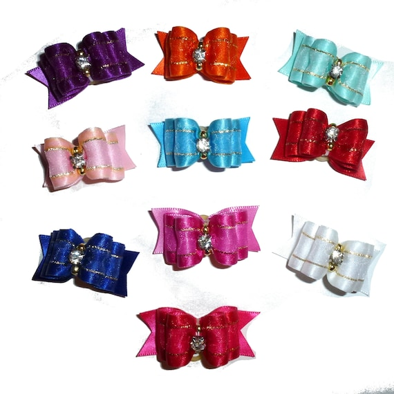 "Puppy Dog Bows ~ 7/8"" satin organza overlay  pet hair show bow barrettes or bands (sasetSO)"