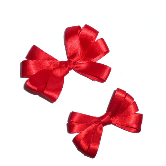 Puppy Bows ~ Satin loops MANY COLORS and sizes barrette or bands pet dog bow