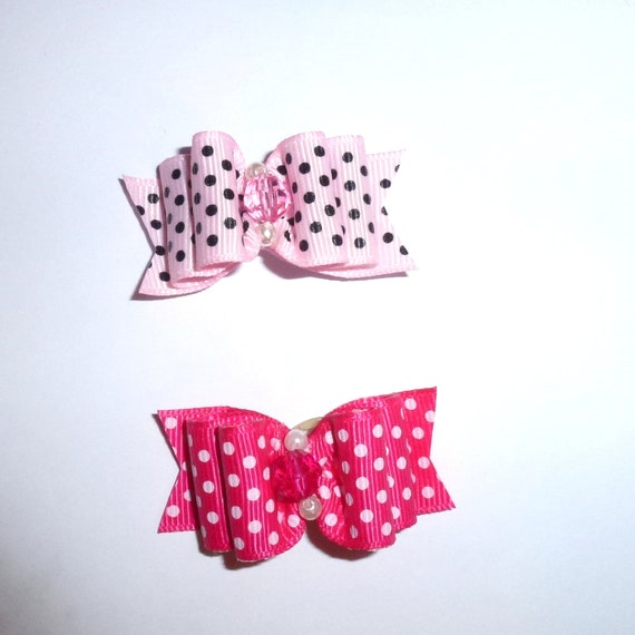 "Puppy Dog Bows ~ 7/8"" pink polka dots pet hair show bow barrettes or bands (FB199)"