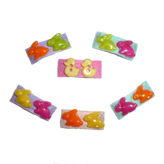 Puppy Bows set of 6 felt covered snap clips with easter bunny rabbits (fb6)
