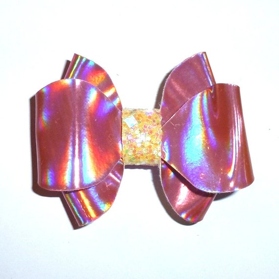 """Puppy Bows ~  BIG bow pink iridescent 2.5"""" dog hair bow or collar slide bands or clip (fb264)"""