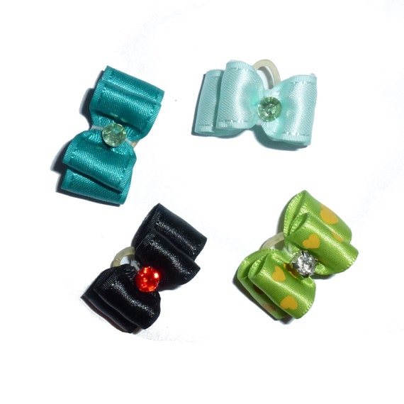 "Puppy Dog Bows ~ 5/8"" satin bowknot SET OF 4! boys pet hair show bow barrettes or bands (saset8)"