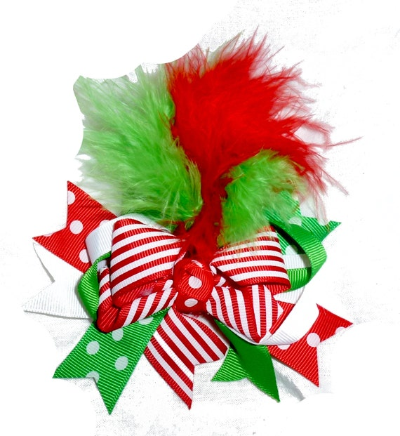 Puppy Bows ~ Large marabou feather boa  dog bow Christmas collar slide flower red green  ~USA seller (DC6)